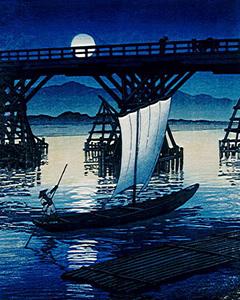 川瀬巴水 「月夜の帆かけ舟」木版画